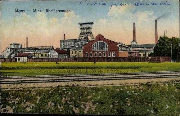 Ak Moers am Niederrhein, Mine Rheinpreussen, Zeche Rheinpreußen, Förderturm, Steinkohlenbergwerk