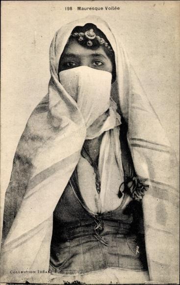 Ak Scenes et Types, Mauresque Voilée, verschleierte Araberin, Maghreb