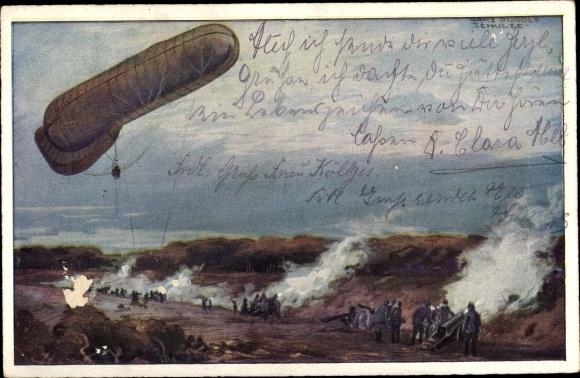 Künstler Ak Schulze, Hans Rudolf, Fesselballon, die Artilleriewirkung beobachtend,I. WK