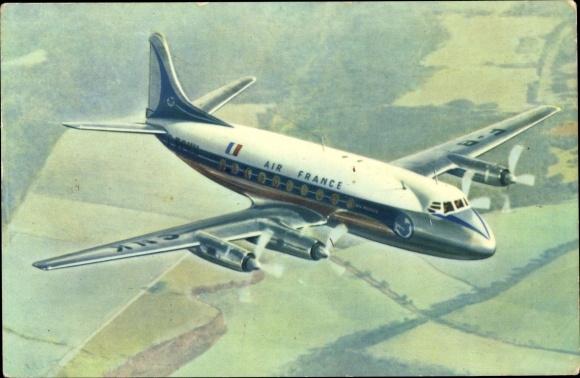 Ak Französisches Passagierflugzeug, Air France, Vickers Viscount