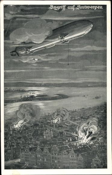 Künstler Ak Angriff auf Antwerpen, deutscher Zeppelin über der Stadt, Luftschiff, I. WK