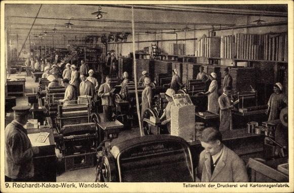 Ak Hamburg Wandsbek, Reichardt Kakao Werk, Teilansicht der Druckerei und Kartonnagenfabrik, Arbeiter