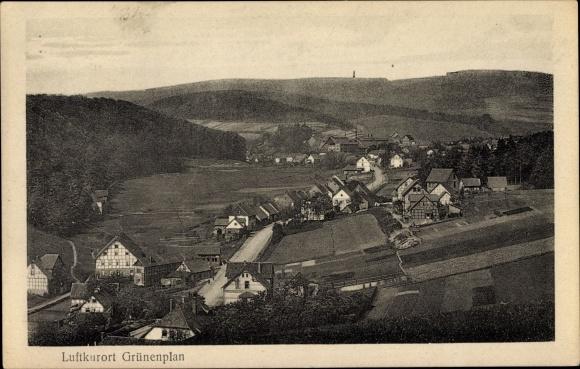Ak Grünenplan Delligsen Niedersachsen, Panorama der Ortschaft und Umgebung