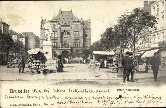 Ak Bruxelles Brüssel, Place Anneesens, Platzpartie, Denkmal, Passanten