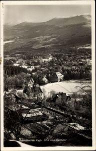 Ak Szklarska Poręba Schreiberhau Riesengebirge Schlesien, Blick vom Bahnhof