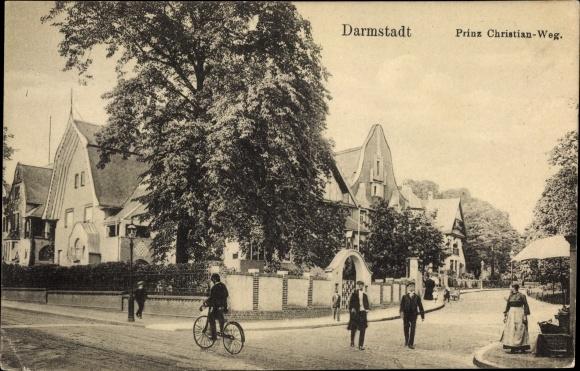 Ak Darmstadt In Hessen Prinz Christian Weg Straßenpartie Nr