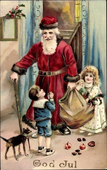 Ak Frohe Weihnachten Weihnachtsmann Kinder Geschenke Hund Nr