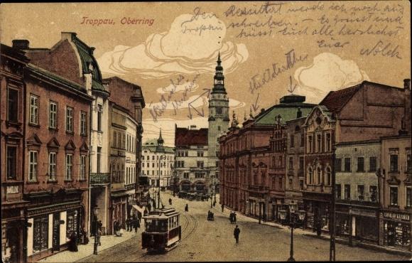 Ak Opava Troppau Reg. Mährisch Schlesien, Oberring, Straßenbahn
