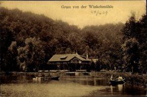Ak Erkrath in Nordrhein Westfalen, Restaurant Winkelsmühle, Inh. L. Hertwig, Teichpartie, Ruderboote