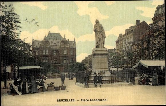 Ak Bruxelles Brüssel, Place Anneesens, Platzpartie, Denkmal