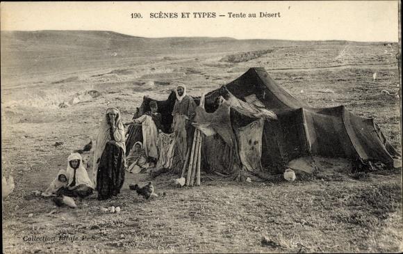 Ak Scenes et Types, Tente au Désert, Zelt in der Wüste, Maghreb, Hühner, Araber