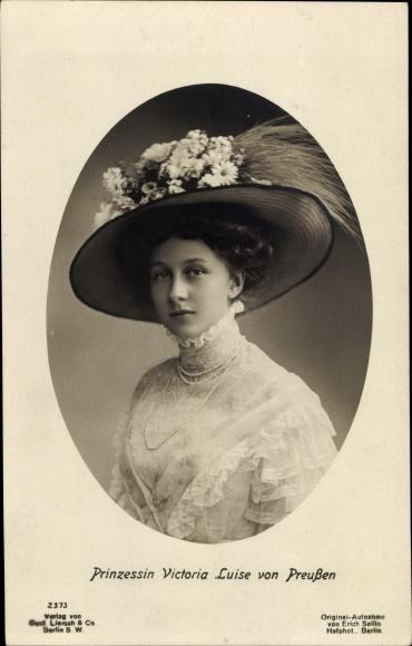 Ak Prinzessin Victoria Luise von Preußen, Portrait mit Hut, Liersch 2373