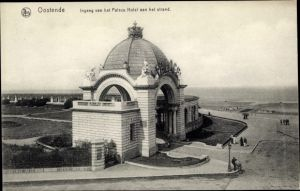 Ak Ostende Westflandern, Ingnag van het Palace Hotel aan het Strand
