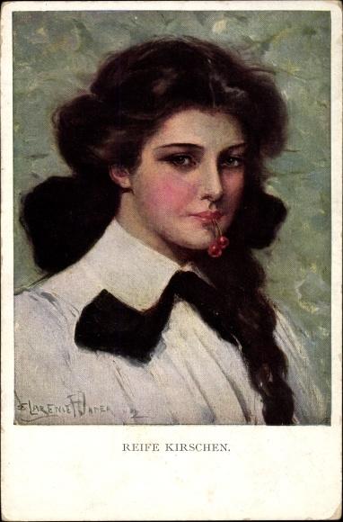 Künstler Ak Underwood, Clare, Reife Kirschen, Portrait einer jungen Frau, Munk 832