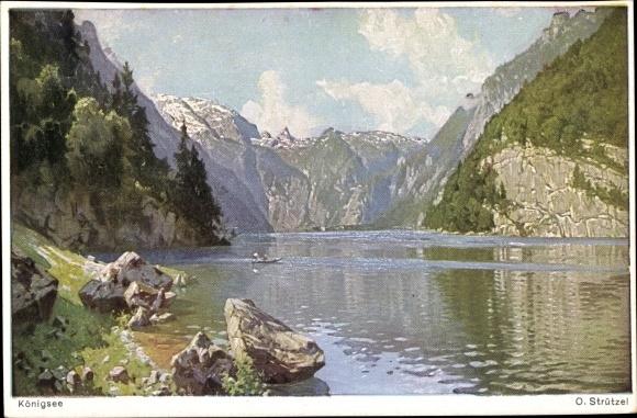 Künstler Ak Strützel, Otto, Blick über den Königssee im Berchtesgadener Land, Novitas 801