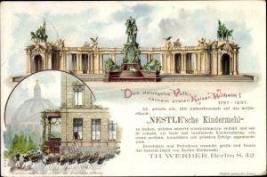 Ganzsachen Litho PP 8 B 4 03, Berlin, Kaiser Wilhelm Nationaldenkmal, Nestle'sches Kindermehl