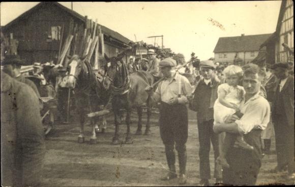 Foto Ak Erntedankfest 1934, Straßenumzug, Bauern