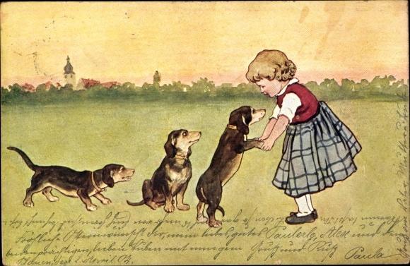 Künstler Ak Kleines Mädchen mit drei Dackeln, BKWI 763-2