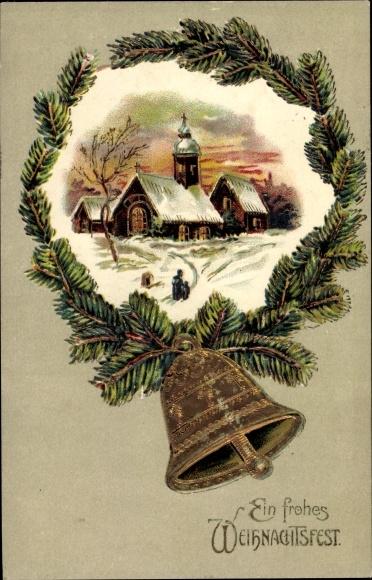 Präge Ak Frohe Weihnachten, Läutende Glocke, Kirche im Schnee
