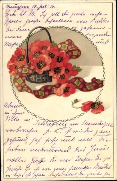 Litho Meissner und Buch 2023, Mohnblüten in einem Korb, Blumen und Bänder
