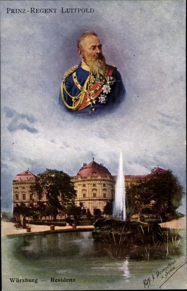 Künstler Ak Donadini, E., Würzburg am Main Unterfranken, Residenz, Prinzregent Luitpold von Bayern