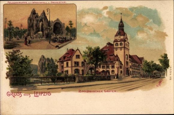 Künstler Litho Spindler, Erwin, Leipzig in Sachsen, Felsengruppe, Zoologischer Garten
