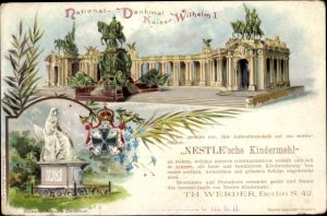 Ganzsachen Litho PP 8 B 4 01, Berlin, Kaiser Wilhelm Nationaldenkmal, Nestle'sches Kindermehl
