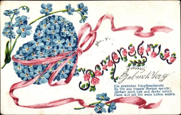 Ak Gluckwunsch Geburtstag Herz Aus Blumentopfen Mit Rosen Flieder