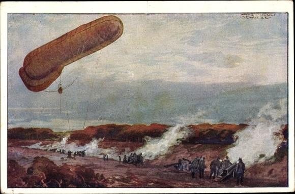 Künstler Ak Schulze, Hans Rudolf, Fesselballon, deutsche Artillerie beobachtend, I. WK