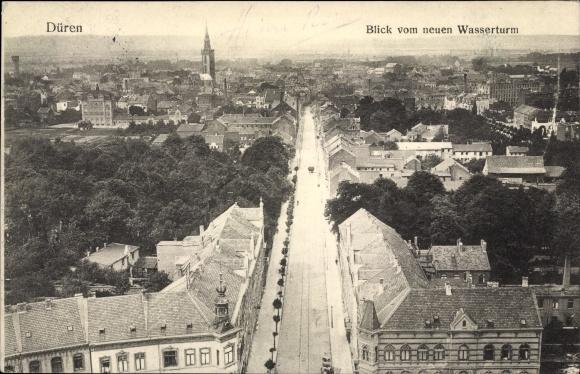 Ak Düren in Nordrhein Westfalen, Blick vom neuen Wasserturm, Teilansicht der Stadt