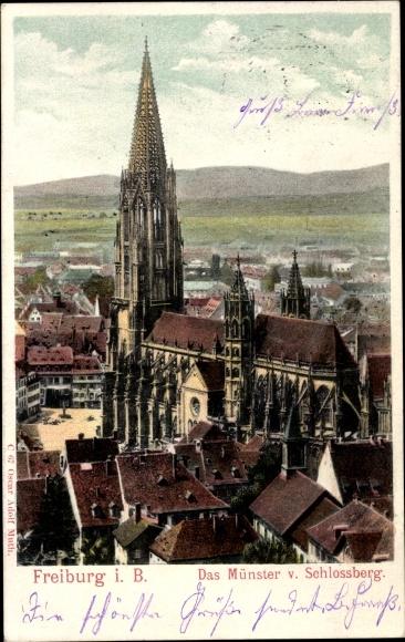 Ak Freiburg im Breisgau Baden Württemberg, Das Münster vom Schlossberg