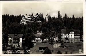Ak Brückenberg b. Krummhübel Riesengebirge Schlesien, Kirche Wang, Hotel und Terrassen Wang
