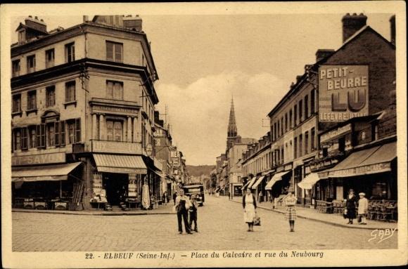 Ak Elbeuf Seine Maritime, Place du Calvaire et rue du Neubourg, Geschäfte