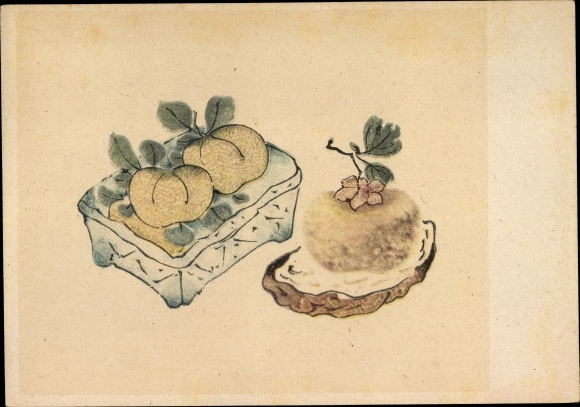 Künstler Ak Bitterorangen und Kakifrucht, Bildersammlung der Zehnbambushalle
