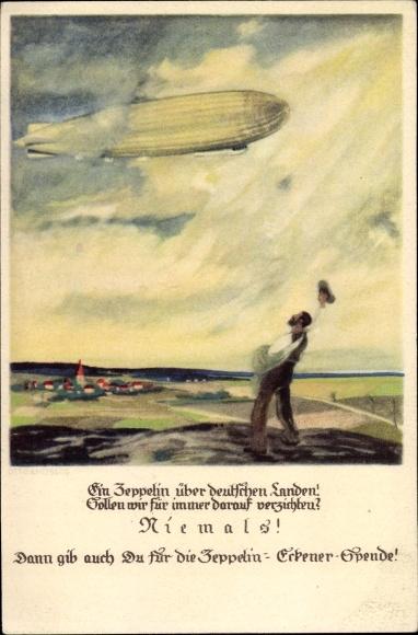 Künstler Ak Amtsberg, Otto, Zeppelin Eckener Spende, winkender Mann, Luftschiff