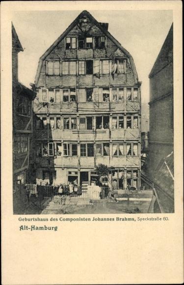 Ak Alt Hamburg, Speckstraße 60, Geburtshaus von Komponist Johannes Brahms