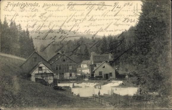 Ak Friedrichroda im Thüringer Wald, Bleichhäuser, aufgehängte Wäsche