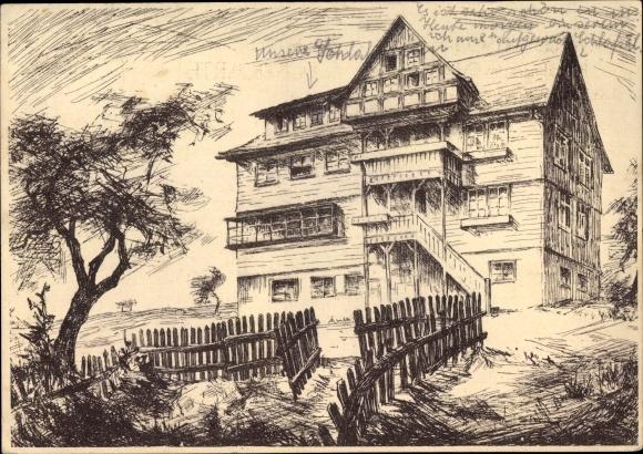 Künstler Ak Buchklingen Birkenau Odenwald, Julius Busch Heim, Landheim der Elisabeth Schule Mannheim