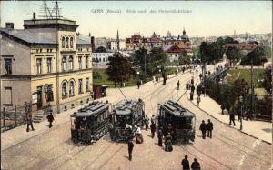 Ak Gera in Thüringen, Blick nach der Heinrichsbrücke, Straßenbahnen