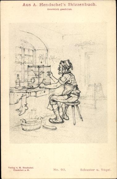 Künstler Ak Hendschel, Albert, Skizzenbuch No. 93, Schuster und Vogel