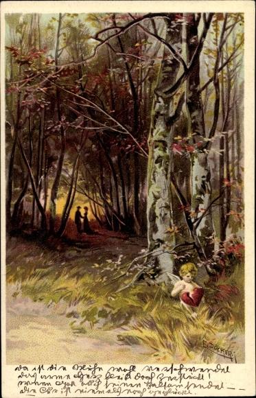Künstler Litho Döcker, E., Liebespaar im Wald, Amor hält zerbrochenes Herz