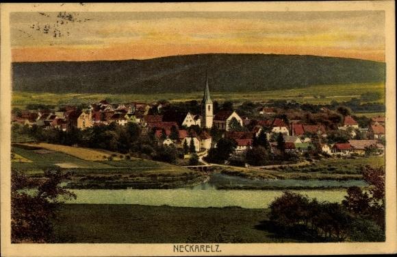 Ak Neckarelz Mosbach im Neckar Odenwald Kreis, Panorama der Ortschaft und Umgebung