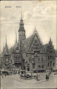 Ak Wrocław Breslau Schlesien, Rathaus, Ring, Ratusz, Rynek