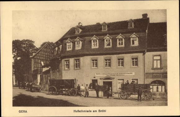 Ak Gera in Thüringen, Hufschmiede am Brühl, Hufbeschlag und Wagenbau H. Schleiff's Nachf.