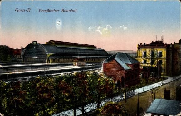Ak Gera in Thüringen, Preußischer Bahnhof, Bahnsteige