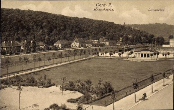Ak Gera in Thüringen, Heinrichsgrün, Sommerbad und Wohnhäuser