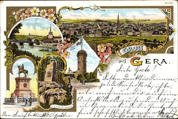 Litho Gera in Thüringen, Schloss Osterstein, Ferberturm, Kaiser Wilhelm Denkmal, Liebe Denkmal