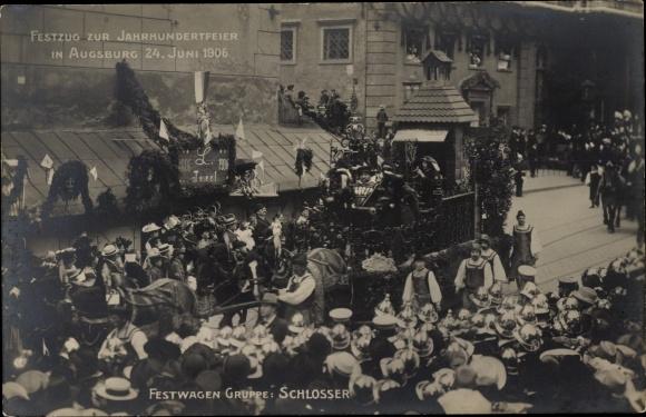Ak Augsburg in Schwaben, Festzug zur Jahrhundertfeier 1906, Festwagen der Schlosser