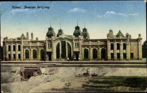 Ak Kowel Ukraine, Dworzec kolejowy, Bahnhof mit Empfangsgebäude