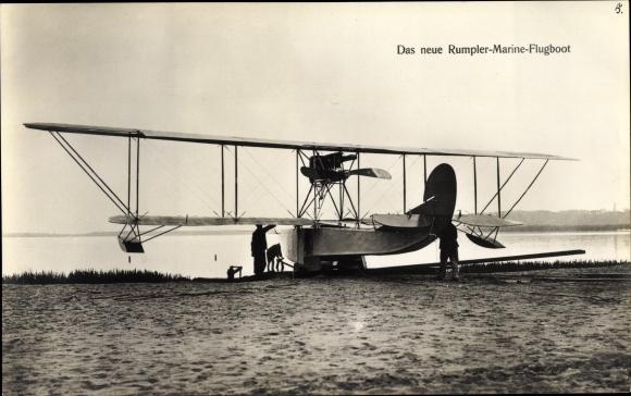 Ak Das neue Rumpler Marineflugboot, Doppeldecker, Wasserflugzeug